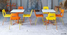 X orange star base cafe table studio chair