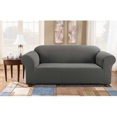 Leather Sleeper Sofa Sure Fit Simple Stretch Subway One Piece Sofa Slipcover Walmart