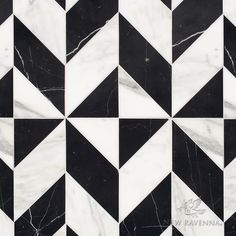 Lancaster Large, a hand-cut stone mosaic, shown in polished Calacatta Tia and Nero Marquina, is part of the Palazzo collection by New Ravenna. Texture Sol, Floor Texture, Stone Texture, Floor Patterns, Tile Patterns, Textures Patterns, New Ravenna, Black And White Marble, Carlo Scarpa