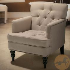 Beige Club Chair Armed Upholstered Tufted Seating Bedroom Living Room Furniture