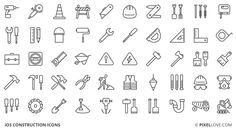 construction thin outline icons