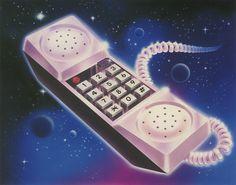 kruma: Lincoln Fuentes 1991 Phones in Space! Futurism Art, Design Art, Graphic Design, Airbrush Art, Retro Aesthetic, Wedding Art, Retro Art, Surreal Art, Cover Art