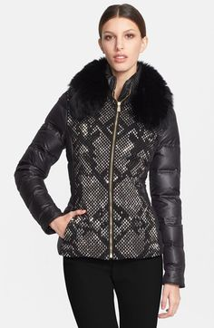 Free shipping and returns on Versace Collection Down Puffer Jacket with Genuine Fox Fur Collar at Nordstrom.com. Dazzling beads create a slinky snakeskin pattern on the front of a glamorous puffer jacket filled with goose down for plush, cozy warmth. Removable fox fur accentuates the stand collar to further the stylishly extravagant look.