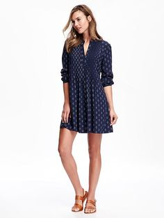 Printed Pintucked Dress for Women Product Image
