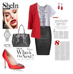 """""""red grey and  black mix"""" by agnesmakoni ❤ liked on Polyvore featuring Michele, Jitrois, M&S Collection, Manolo Blahnik, DKNY, Bling Jewelry, Palm Beach Jewelry and Lucky Brand"""