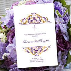 Catholic Wedding Program Grace Purple & Gold  by WeddingTemplates