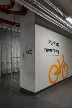 Wayfinding system for an office-residential building Rajska 8 and Heweliusza 18 in Gdansk, Poland Parking Signs, Bike Parking, Signage Design, Typography Design, Park Signage, Wayfinding Signs, Bike Room, Information Architecture, Automotive Design