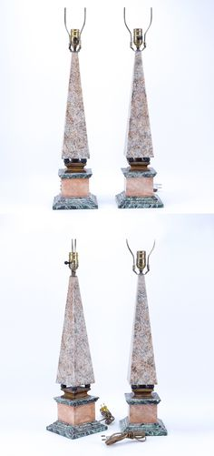 """A Nice Pair of Neoclassical Style Polychrome Faux Marble Obelisk Form Lamps. Rubbing, a few nicks, scuffs - Dim: 32-1/2"""" H (highest point) x 6-1/4"""" W x 6-1/4"""" Depth."""