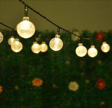 Solar Ed Led Outdoor String Lights 5m 20leds Crystal Ball Globe Fairy Strip For Outside
