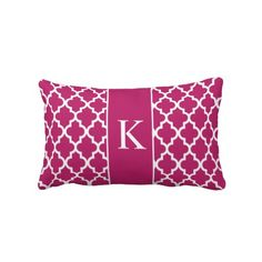 Berry Pink Moroccan Custom Monogram Throw Pillows #custom #monogram #berry #pink #throw #pillow #cushion http://www.zazzle.com/berry_pink_moroccan_custom_monogram_throw_pillows-189565661805920596?CMPN=addthis&lang=en&rf=238213022379565456