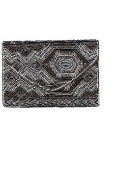 Pochette perlée Noire, blanche, bronze motifs 3 D