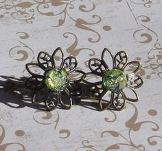 Earrings / Vintage Green Fire Opals and Filgree by AmandasBoutique