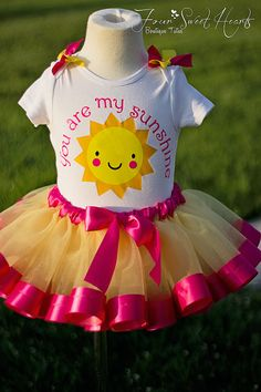 Sunshine First Birthday Outfit Girls First by FourSweetHeartsTutus
