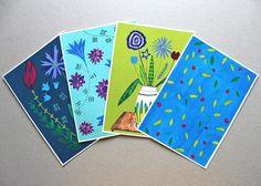 Florales Postkarten Set von Irina Mmurs Things auf DaWanda.com
