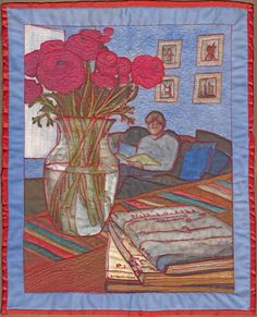 Peonies still life, I drew this on my iPad then printed it on fabric the free motion quilted it.
