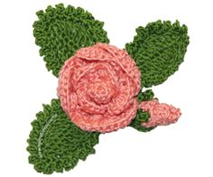 Crochet flower and leaves with diagram and step by step instructions, this is excelent for begginers. Spanish site. *Lupe!