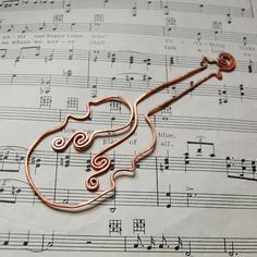 Violin copper bookmark. $16.00, via Etsy.
