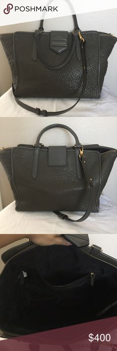 """MBMJ Trapeze Bag ❤️ In excellent condition. Olive green, grey textured leather. Two handles and removable shoulder strap. Goldtone hardware. Comes with dustbag. 10"""" high x 10"""" wide at widest point. Marc by Marc Jacobs Bags Satchels"""
