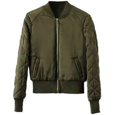Military Green Zip Up Pocket Detail Long Sleeve Bomber Jacket (€35) ❤ liked on Polyvore featuring outerwear, jackets, tops, bomber jacket, military green bomber jacket, green military jacket, long sleeve jacket and zip bomber jacket