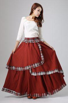 Maxi skirt plaid skirt women's linen skirt in darker by xiaolizi