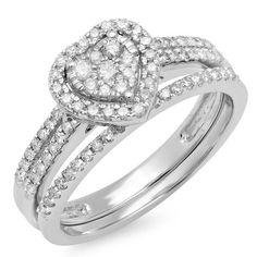 0.50 Carat (ctw) 10K Gold Round Cut Diamond Ladies Split Shank Heart Shaped Bridal Engagement Ring With Matching... $409.00
