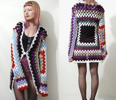 Vintage GRANNY SQUARE Crochet CARDIGAN Jacket Rainbow Colourful ooak Slouchy Oversized Grunge Long Hippie Knit xs-s