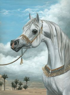 Prince Charming By Tracey Shivak-Anderson Shivak Art Studio. I have this print and it is incredible! Beautiful Arabian Horses, Most Beautiful Horses, Arabic Horse, Horse Wallpaper, Arabian Art, Horse Artwork, Horse Face, Lion Art, Horse Drawings