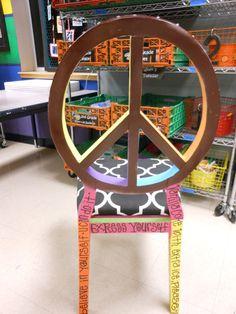 Jez4U One of a KIND Handpainted Whimsy PEACE Sign Chair. $420.00, via Etsy.