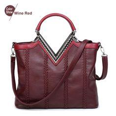 61bcd12d1083 Shoulder Bags PU Leather Weave vintage Tote Handbags