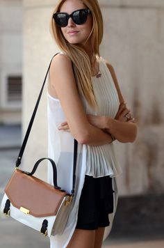 Cute hi.lo chiffon shirt & handbag