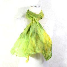 Cobweb Felted Green Scarf Wool Scarf Long Scarf Womens Scarf