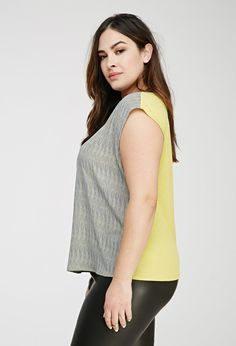Plus Size Abstract Cutout-Back Top