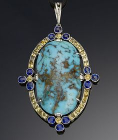 An art deco turquoise, sapphire and diamond pendant, by Fouquet, circa 1925
