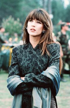 Sophie Marceau's hair and bangs in the 1999 James Bond movie - 'The World is Not Enough.'