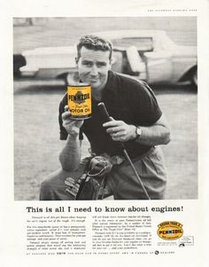 """1958 PENNZOIL vintage magazine advertisement """"all I need to know"""" ~ This is all I need to know about engines! - Pennzoil is all this pro knows about keeping his car's engine out of the rough. It's enough. - For this remarkable motor oil has a ..."""