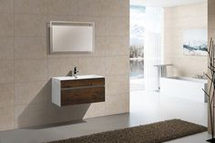 "Fitto 36"" Rose Wood Wall Mount Modern Bathroom Vanity"