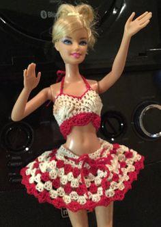 Top & Skirt - (no pattern) # Crochet Barbie Patterns, Barbie Clothes Patterns, Crochet Barbie Clothes, Crochet Dolls, Clothing Patterns, Crochet Baby, Barbie Dress, Barbie Doll, Accessoires Barbie