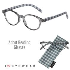 f3d3281b56fcda Start the New Year off right with new eyewear! Our gray checkered Abbot  reading glasses