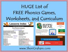 Huge List of FREE Phonics Games, Worksheets, and Curriculum
