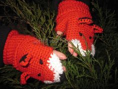 FOX FINGERLESS GLOVES Mittens Gift Wool Crochet by 2HandMade, $22.90