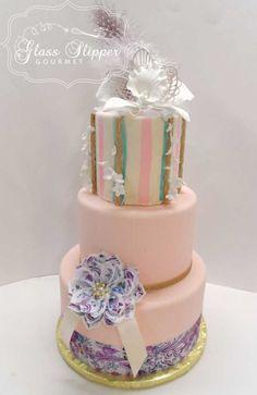 marie antoinette themed wedding cake with edible paper printed flower #marieantoinette