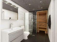 Sisustus - kylpyhuone - tumman ja valkean kontrasteja