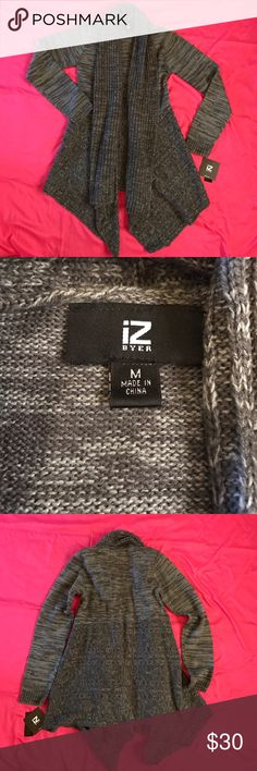 Charcoal Gray Sweater Cardigan New with tags. Size medium. 100% Acrylic. Hand Wash, I have one made of the same and I have washed on delicate cycle with no issues. Iz Byer Sweaters Cardigans