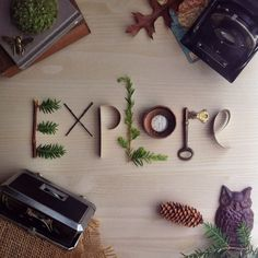 Explore photo print • mixed media lettering collage • vintage, antique objects • skeleton key, camera, timepiece, quilled paper, binoculars