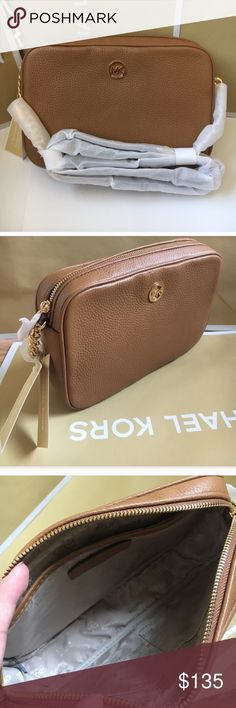 💕🌸mk crossbody🌸 Authentic brand new with tag. large size, acorn color. Michael Kors Bags Crossbody Bags