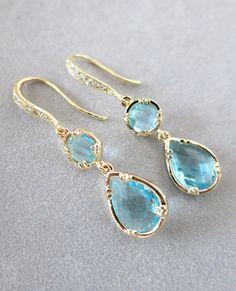 Ada  Aquamarine Teardrop Earrings Blue Weddings