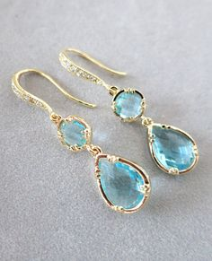 Aquamarine Teardrop Earrings, Blue Weddings, Bridesmaid Earrings, gold weddings, something blue, gifts for her, blue crystal earrings, www.glitzandlove.com
