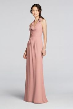 A sophisticated look that can carry you through any occasion!  Long crinkle chiffon dress features halter style straps with a cascading cowl front.  Key hole back with slight blouson waist allowing for a comfortable all day fit.  Fully lined. Back zipper. Imported. Dry clean only.  Also available in Extra Length as Style 4XLF18073 . To protect your dress, try our Non Woven Garment Bag.