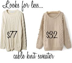 Looks for less: Cable knit sweater