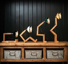 Quirky desk or shelf lamp full of personality, fully adjustable headlight-style lamp on jointed ash wood frame. Shelf Lamp, Led Desk Lamp, Desk Light, Lamp Light, Burford Garden Company, White Table Lamp, Table Lamps, Body Joints, Light Beam